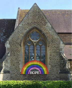 photo of St Michael's Church; inspired by a church in Australia; https://www.hellomagazine.com/homes/gallery/2020033187217/coronavirus-rainbow-displays-windows-photos/9/ with the aid of some SVG markup